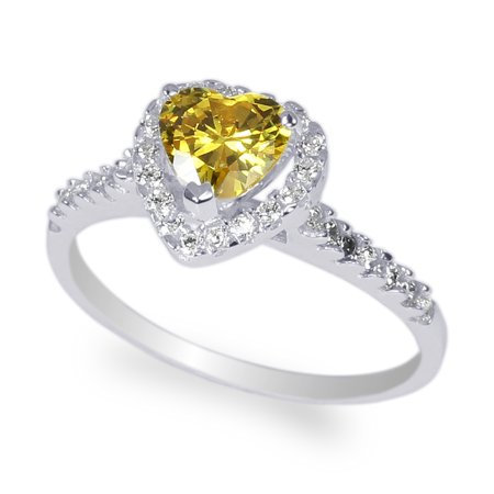 White Gold Plated 0.8 carat Citrine Heart CZ Halo Solitaire Ring Size