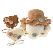 SANUME Girl'S Wide-Brimmed Grass Woven Tricolor Flower Sunscreen Beach Hat Summer Travel Hat Portable Handbag