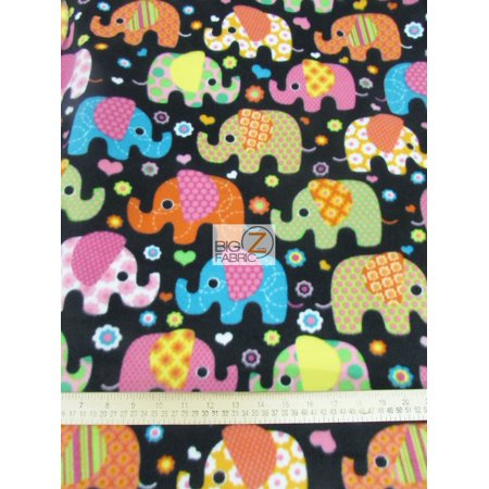 Disco Apparel (Baum Textile Mills Fleece Printed Fabric / Disco Elephants / Sold By The)
