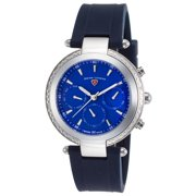 16175Sm-03-Bls Madison Diamond Multi-Function Navy Blue Silicone Blue Dial Watch