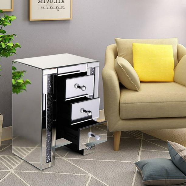 Topcobe Night Stand w/ 3 Storage Drawer, Mirrored ...