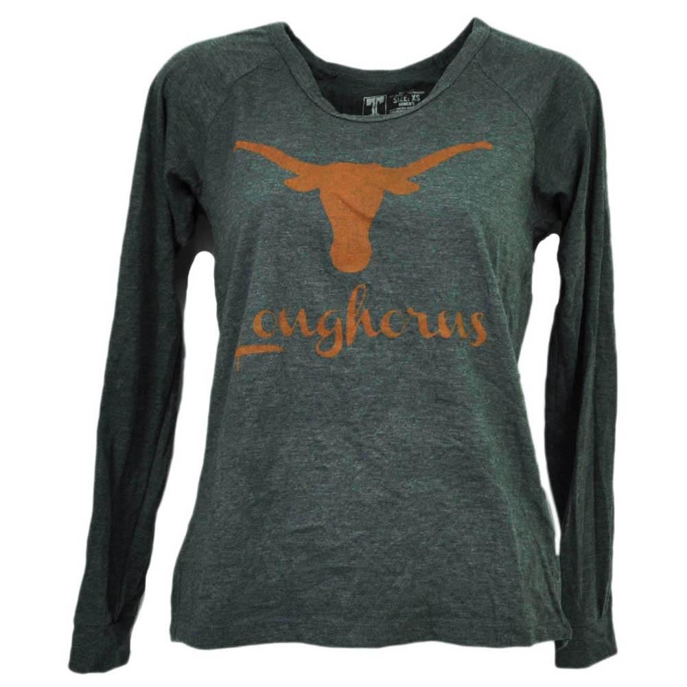 NCAA Texas Longhorns Long Sleeve Charcoal Tshirt Tee Womens Crew Neck XSmall