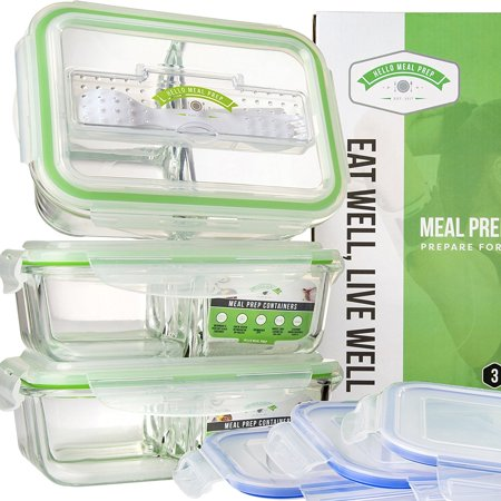 Glass Meal Prep Containers 3 Compartment Food Storage
