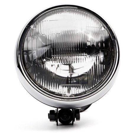 "Krator 6"" Black w/ Chrome Ring Motorcycle Headlight Bottom Mount Running Light Hi/Lo for Yamaha TX SR CS YX RD 350 400 500 600 650 750 - image 6 of 8"