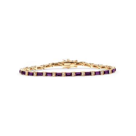 14k Pink Sapphire Bracelet - Emerald-Cut Birthstone 14k Yellow Gold-Plated Tennis Bracelet