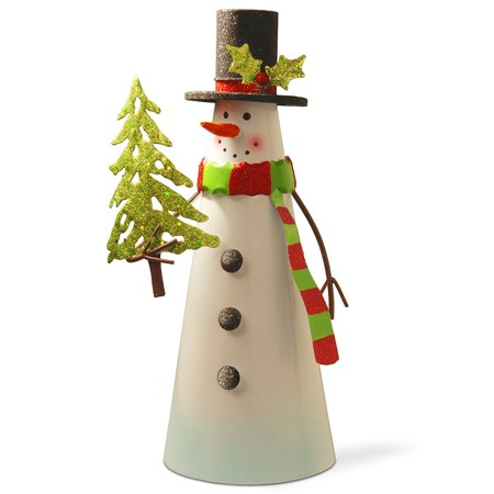 National Tree 12 Inch White Wire Snowman Holding A Tree  Mzc 975   10 Inch Height By National Tree Company
