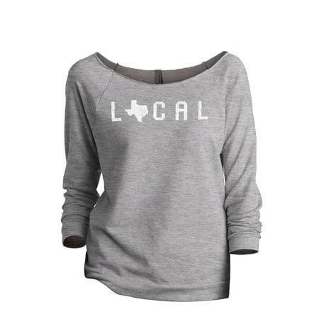 Thread Tank Local Texas State Women's Slouchy 3/4 Sleeves Raglan Sweatshirt Sport Grey - Texas Tech Sweatshirt