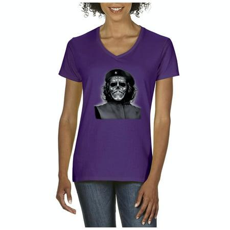 Artix - Halloween T-Shirt Che Guevara Skull Halloween Costumes Idea  Halloween Birthday Fun Family Party Gift Artix Women s V-Neck T-Shirt Tee  Clothes ... 872cdb30e