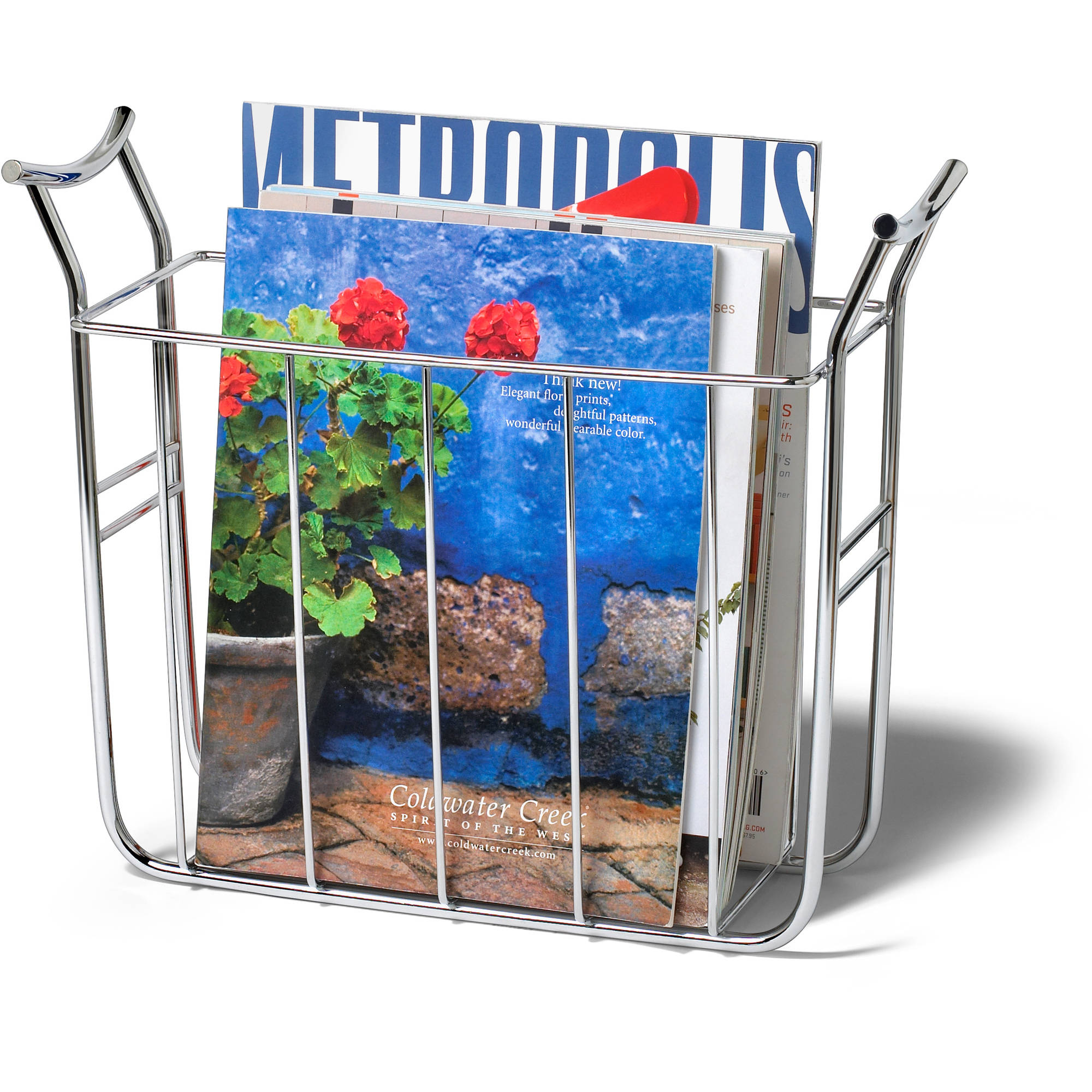 Spectrum Euro Magazine Basket, Chrome