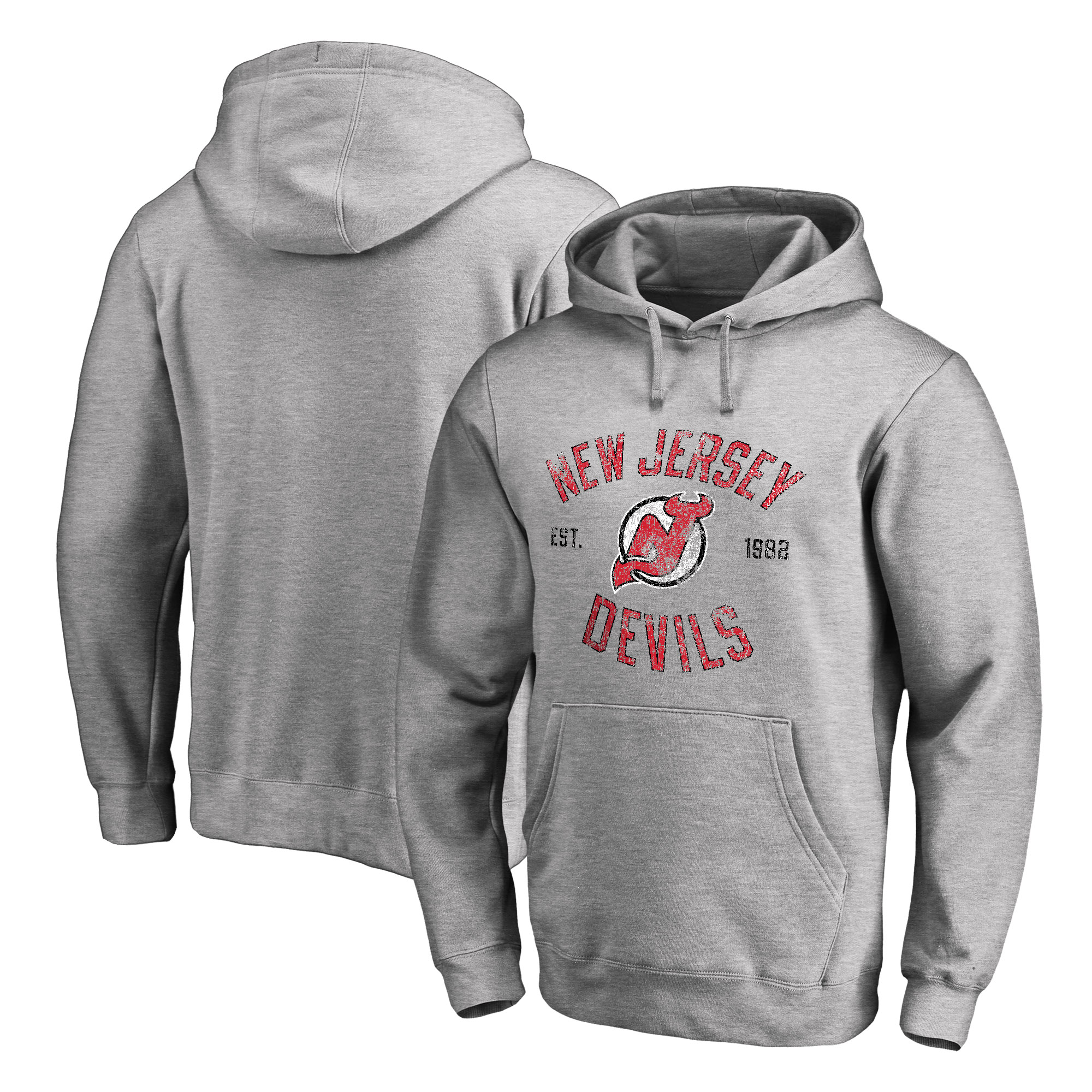 New Jersey Devils Heritage Pullover Hoodie - Ash