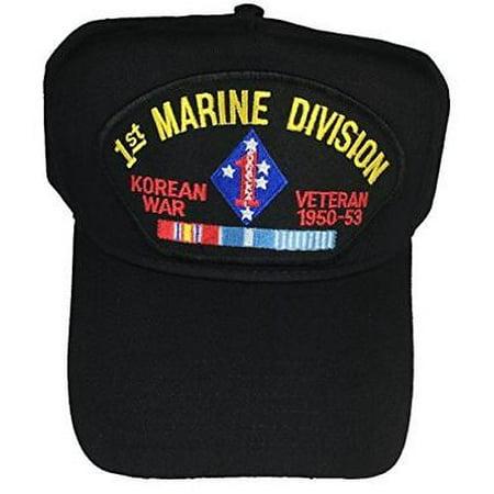 USMC FIRST 1ST MARINE DIVISION MARDIV KOREAN WAR VETERAN HAT W/ CAMPAIGN RIBBONS ()