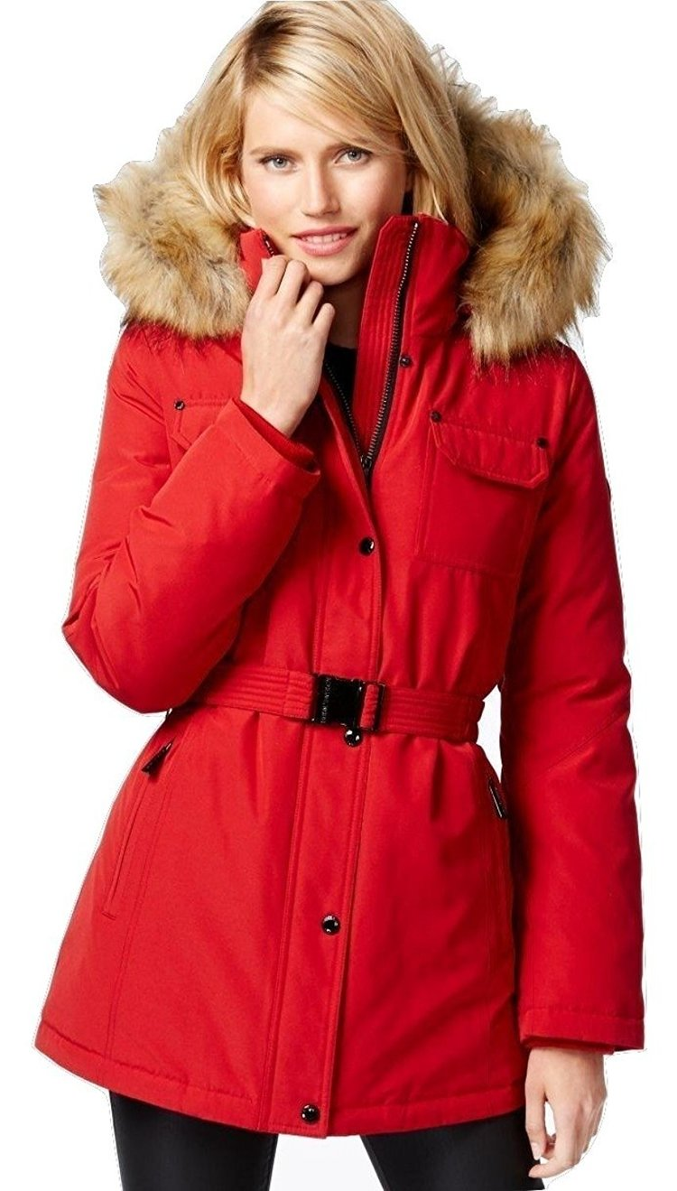 Michael Kors Heavy Down Puffer Parka Coat with Faux Fur Hood-Red-S by