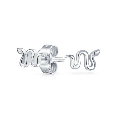 Minimalist Tiny Garden Reptile Serpent Snake Stud Earrings For Women For Teen 925 Sterling Silver