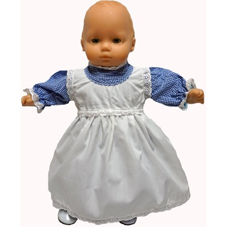 - Fits 15-16 Inch Baby Dolls And Cabbage Patch Kids Blue Dress With Pinafore