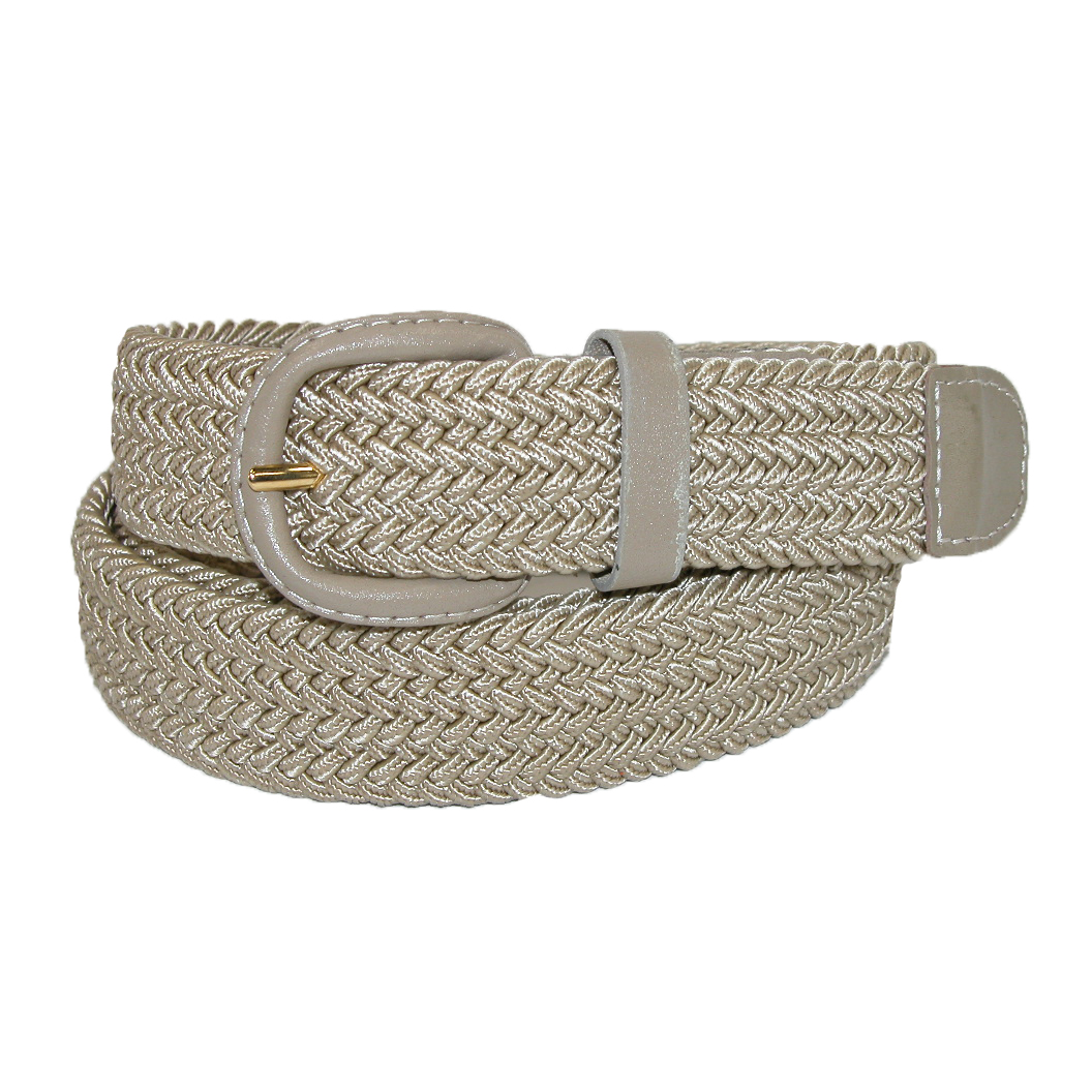 CTM®  Mens Elastic Braided Belt with Covered Buckle (Big & Tall Available)