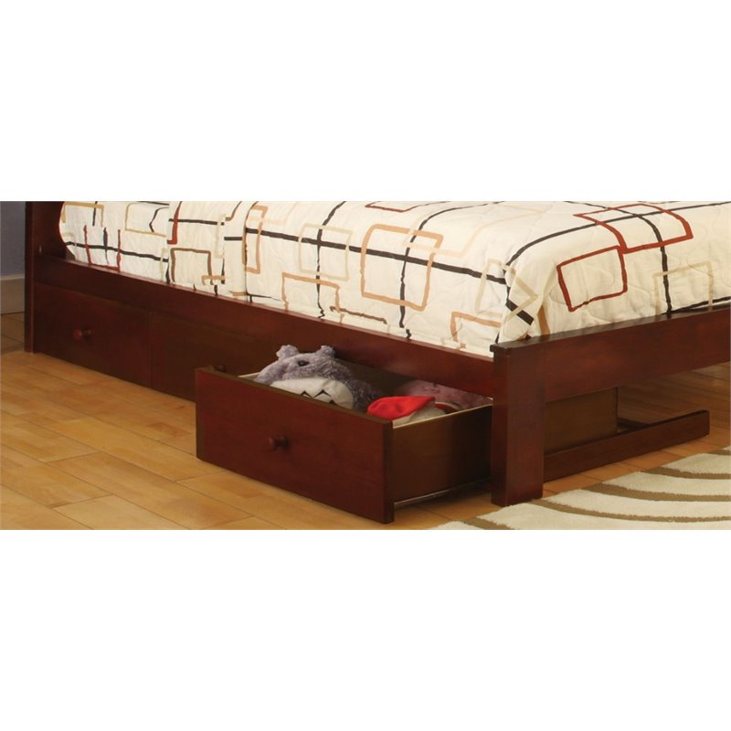 Furniture of America Gosney 3 Underbed Storage Drawers in Cherry