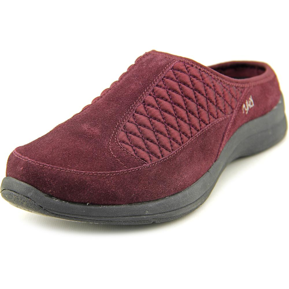Ryka Shearling Vamp Slip-on Clog Women  Round Toe Suede Burgundy Clogs