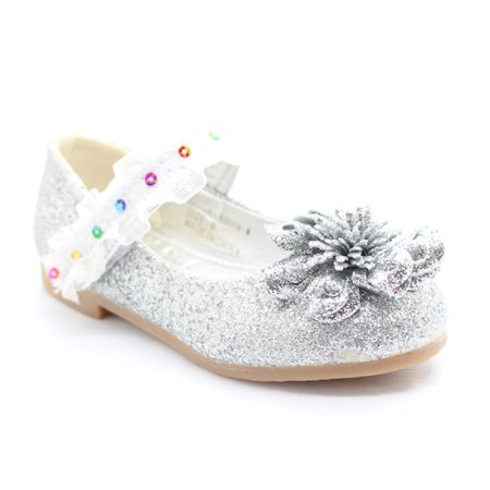 Little Girls Silver Glitter Lace Sequin Trim Flower Dress Shoes - Little Girls Dress Up Shoes