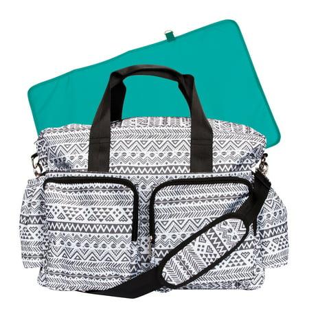 Trend Lab Deluxe Aztec Duffle Diaper Bag, Black & White