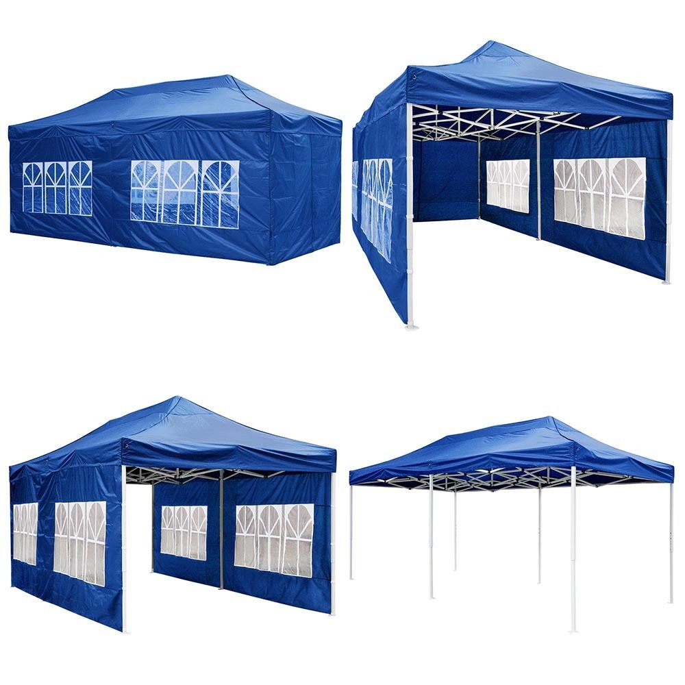 GHP 10'x20' Waterproof 420D PVC Oxford Fabric Blue Pop-up Canopy Tent
