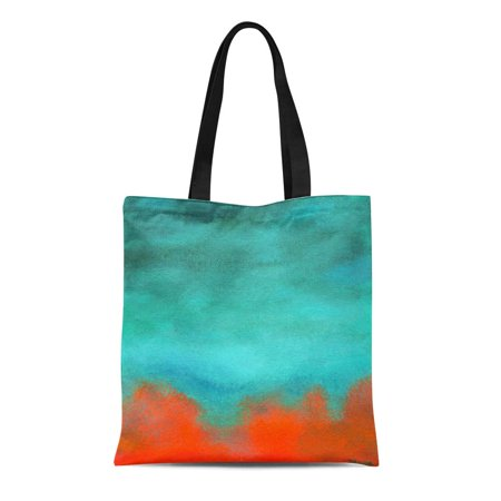 Sidonku Canvas Tote Bag Coral Abstract Ky Fire Lava Red Orange Aqua Painting Reusable Handbag Shoulder Grocery Shopping Bags