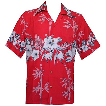 Hawaiian Party Shirts (Hawaiian Shirt 35 Mens Bamboo Tree Print Beach Aloha Party Holiday Red)