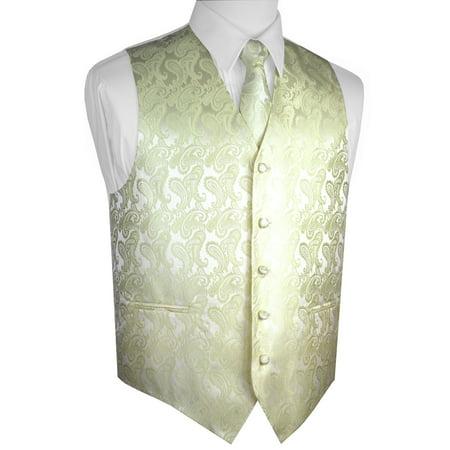 Italian Design, Men's Tuxedo Vest, Tie & Hankie Set - Banana - Banna Suit