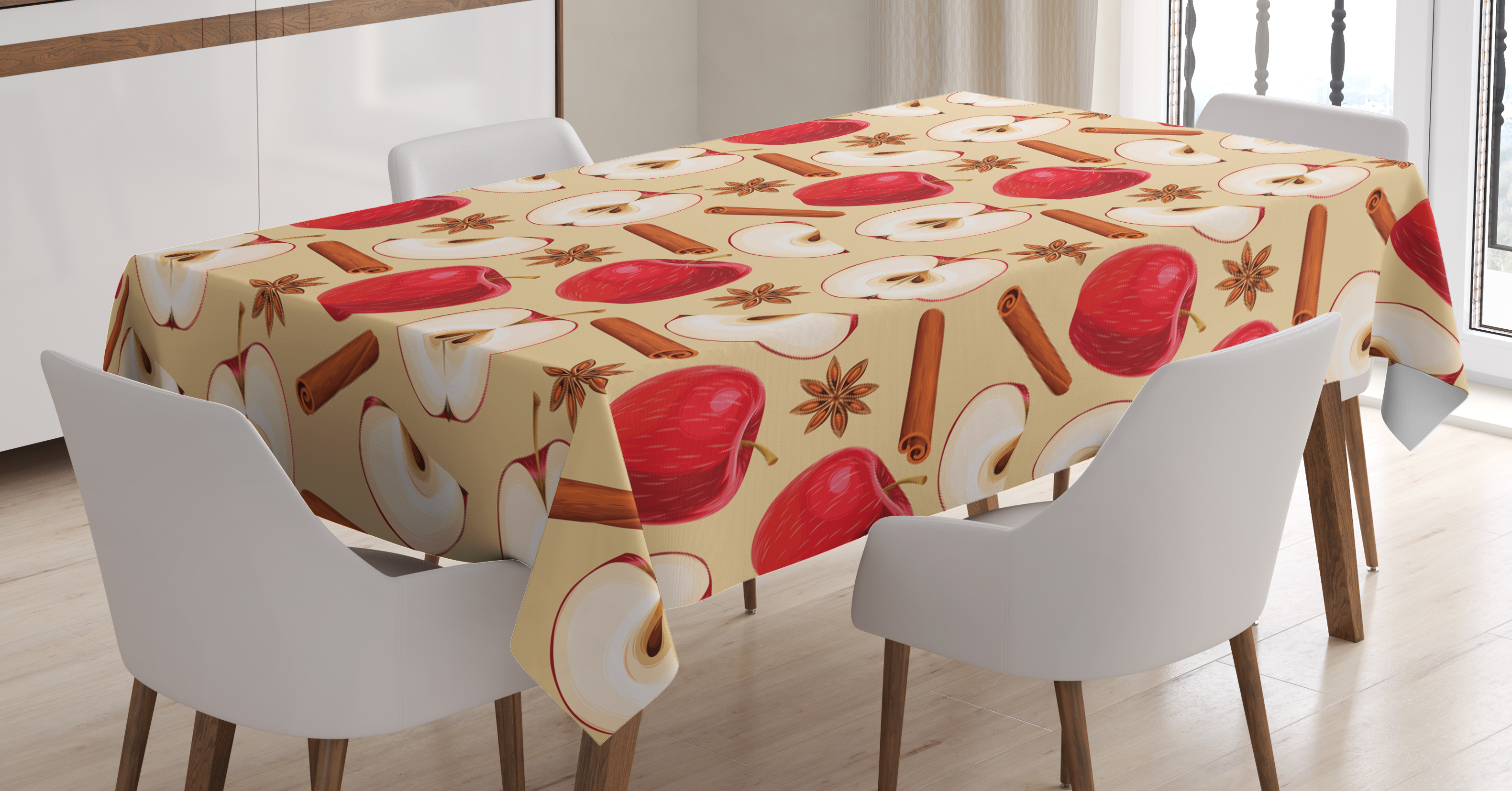 Apple Tablecloth, Apples with Cinnamon Sticks and Star Anise