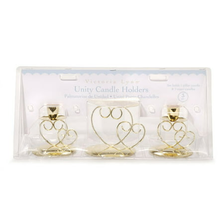 Victoria Lynn Unity Candle Set - Double Heart - Gold - Heart Shaped Candles