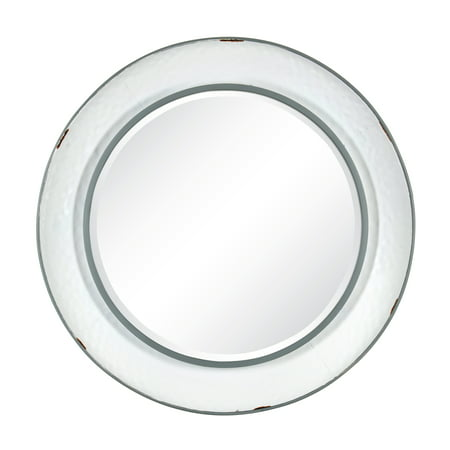 Kate and Laurel Kestler Large 34-Inch Round Vintage Farmhouse Metal Accent Wall Mirror, Distressed White-Enamel Like Finish