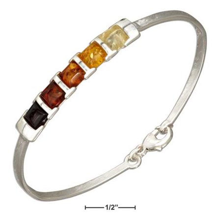 Sterling Silver Multicolor Squares Baltic Amber Bangle