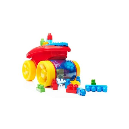 Block Scooping Wagon Building Set Red, Colorful pull wagon picks up blocks when you push it By Mega Bloks