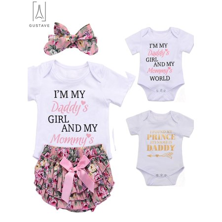 "GustaveDesign 3 PCS Newborn Kids Baby Girl Floral Clothes Bodysuit Jumpsuit Romper Headband Outfits Clothes Set ""Fit 18-24 Months"""