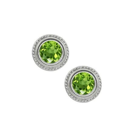 2.00 Ct 6mm Round Green Peridot 925 Sterling Silver Stud Earrings