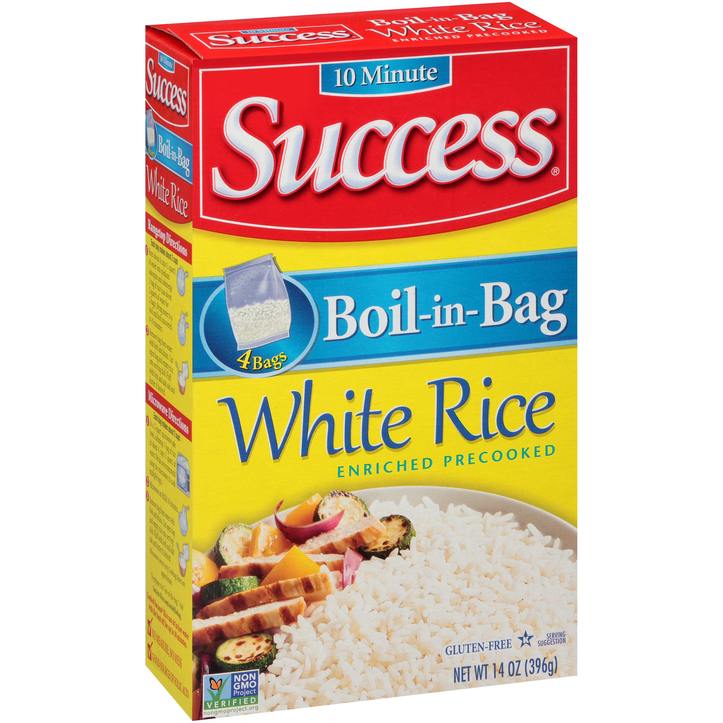 Success Boil-In-Bag White 4 Count Rice 14 oz Box