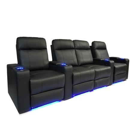 Valencia Piacenza Top Grain Leather LED Power Home Theatre Seating Row of Four Love Seat Centre - 4 seat - image 6 de 6