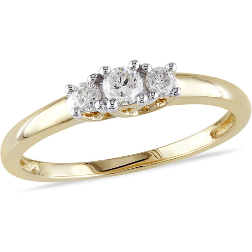 1 4 Carat T.W. Three-Stone Diamond Engagement Ring in 14kt Yellow Gold, IGL Certified by