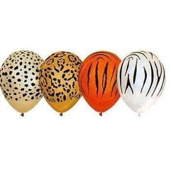 12 Animal Print Balloons - Lion Tiger Cheetah Zebra - Zebra Print Party Ideas