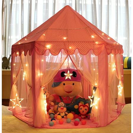 Kids Play Tent Princess Castle,Super Fantasy Pink Princess Castle Playhouse Canopy Tent with LED Light Indoor and Outdoor Fun