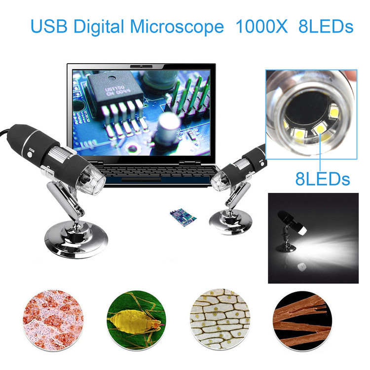1000X Zoom 8 LED USB Microscope Digital Magnifier Endoscope Camera Video with Stand, USB Digital Microscope by