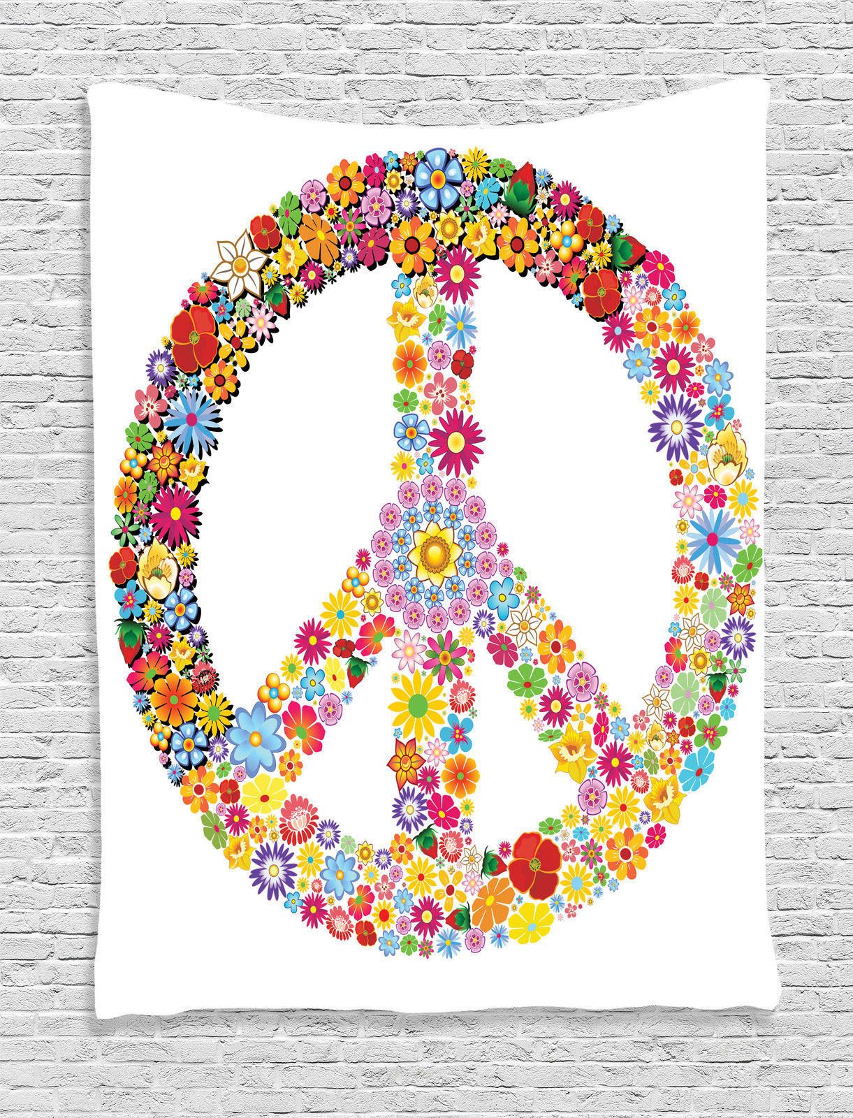 Peace Sign Bedroom Accessories: Groovy Decorations Wall Hanging Tapestry, Floral Peace