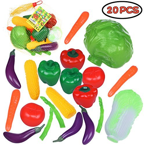 Kitchen Pretend Play Vegetable Food Toys Playset (Fresh Cabbage, Napa Cabbage, Corn, Eggplant, Carrot, Asparagus, Tomato, Pepper) 20 PCs F-136