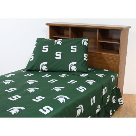 Michigan State Spartans 100% cotton, 4 piece sheet set - flat sheet, fitted sheet, 2 pillow cases, King, Team Colors