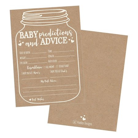 50 Mason Jar Advice and Prediction Cards for Baby Shower Game, New Mom & Dad Card or Mommy & Daddy To Be, For Girl or Boy Babies, New Parent Message Advice Book, Fun Gender Neutral Shower Party Favors - Mason Jar Centerpieces For Graduation Party