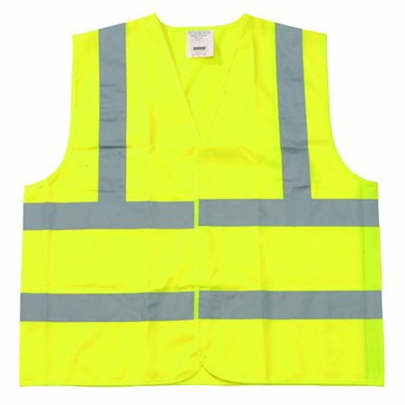 Shield Safety Fluorescent Yellow Polyester Fabric Safety Vest XLarge, Class II Silver Reflective Tape, 1 Count