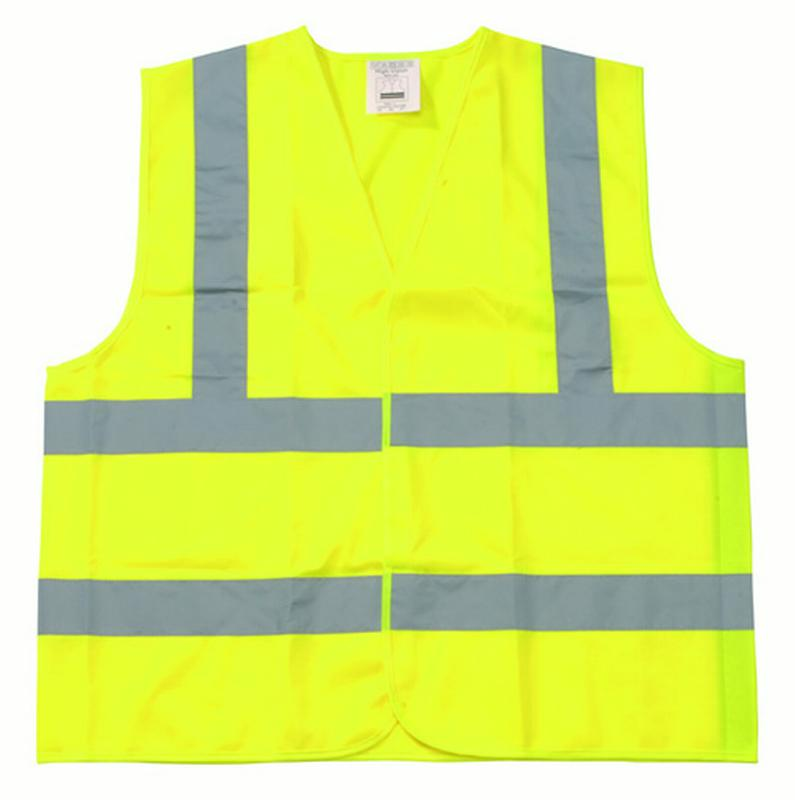Shield Safety - Yellow Color Safety Vests Small w/ 5cm EN471 Class II Silver Reflective Tape 50 PCS