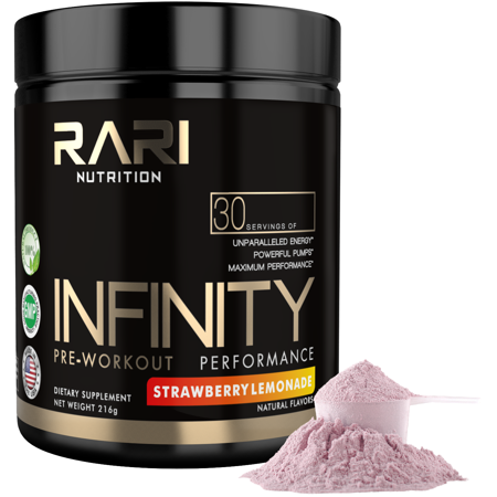 Rari Nutrition   Infinity 100  Natural Pre Workout Powder For Energy  Focus  And Performance   No Creatine   No Artificial Flavors Or Colors   30 Servings   Strawberry Lemonade