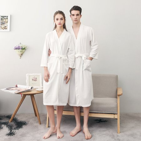 Uarter - Uarter Men Women Spring and Summer Robe Waffle Weave Bathrobe  Couple Bath Robes Practical Night-robe  38f01a88f