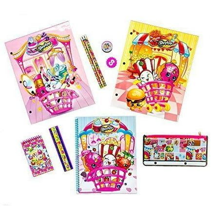 shopkins school supplies bundle - 11 piece kit: 2 laminated folders, spiral notebook, memo pad, eraser, sharpener, ruler, pencil pouch, 3 pencils (Notebook Bundle Kit)