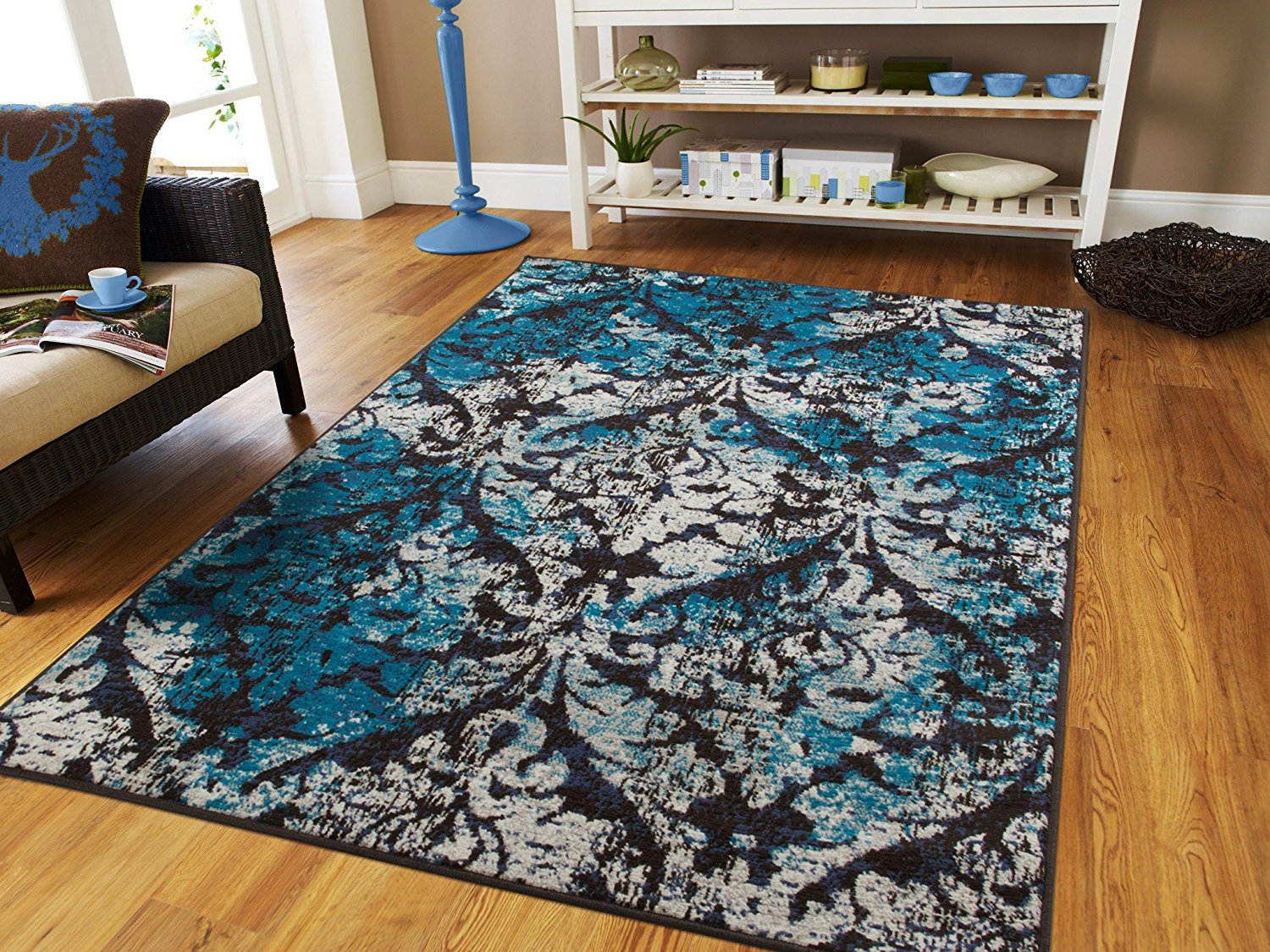 Luxury Modern Area Rugs On Clearance 5x8 Distressed 5x7 Rug For Dining Room Blue Black